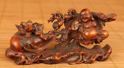 Chinese Old Boxwood Collection Hand Carved Maitreya Buddha Statue