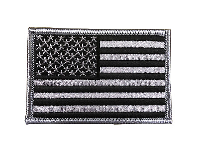 """#5098 American Flag,US Flag Gray Border Flag Embroidery Iron On Patch 3""""x2"""""""