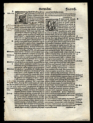 4 Historiated Letters 2nd Book of Kings Chap 8-11 1519 Bible Leaf  Lyon France