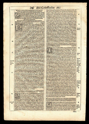 1539 New Testament Bible Leaf St Paul's Epistle to The Colossians Chap 1-4