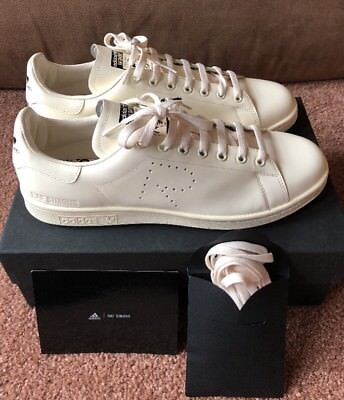 88ca71a85a89 New Men s Adidas Raf Simons Stan Smith Leather Sneaker Creme Size 11 CG3351
