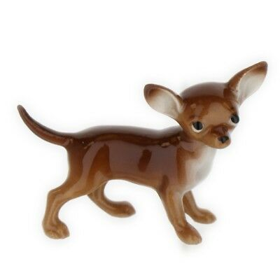 Brown & White Chihuahua Miniature Ceramic Figurine Made in USA by Hagen-Renaker