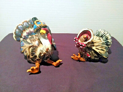 Blue Sky Clayworks Turkey Couple Salt and Pepper Shakers Heather Goldminc 2003