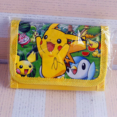 New Pokemon Boys Wallet Kids Coin Cartoon Trifold Zip Bags Party Gift