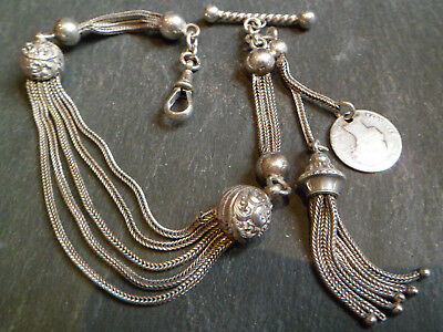 Antique Victorian 1868 Solid Silver Albertina Albert Pocket Watch Chain + Tassel