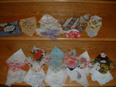 VINTAGE RETRO LADIES FLORAL HANKIES LOT of 20 VARIETY of MATERIALS 2 with MAKER