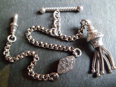 Antique Victorian Solid Silver Albertina Albert Pocket Watch Chain + Tassel Fob