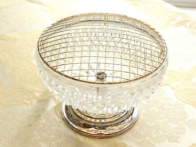 Vintage Silver Plated & Pineapple Cut Glass Rose Bowl With Grille   1340641/644