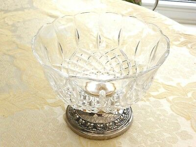 Vintage Silver Plate & Cut Glass Bowl With Repousse Pattern Base   1340645/648