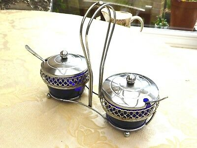 Vintage Cobalt Blue Glass Conserve Pots & Spoons In Footed Stand   1340649/653