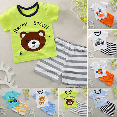SOFT Baby Toddler Kids Boys Girls Summer Cotton Outfits Top+ Short Pants Clothes