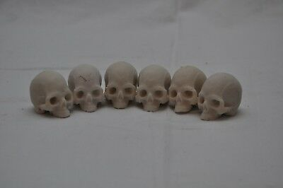 Interesting Lot of 6 x Resin Skull Figures – Great For Door Knobs Or Art Project