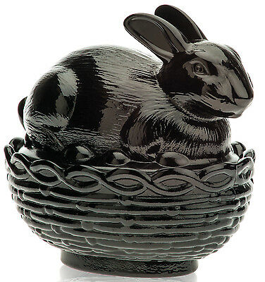 Bunny Rabbit on Basket Covered Dish - Mosser USA - Black Glass