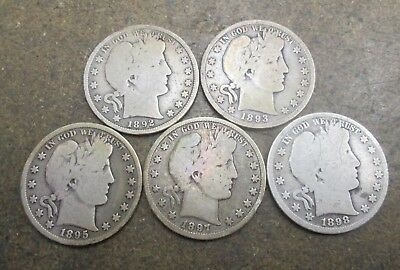 1892-P,93-P,95-P,97-P & 98-P Barber Silver Half Dollars Good Condition No Res
