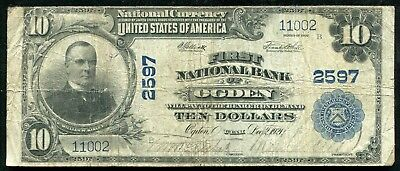 1902 $10 First National Bank Of Ogden, Ut National Currency Ch. #2597