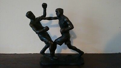 Bronze statue boxers signed by artist MILO