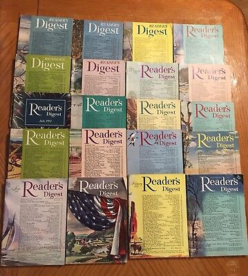Lot Of 20 Vintage Readers Digest Magazines  1950-1953