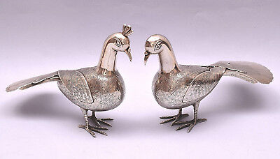 Beautiful Pair Of Solid Silver Peacock