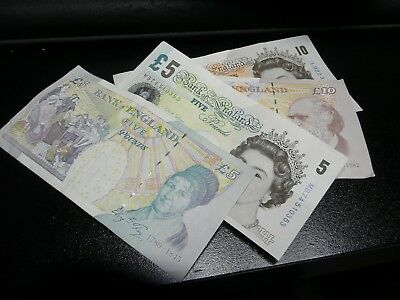 British Pound Old 5 And 10  Pound Banknotes - With Tracking