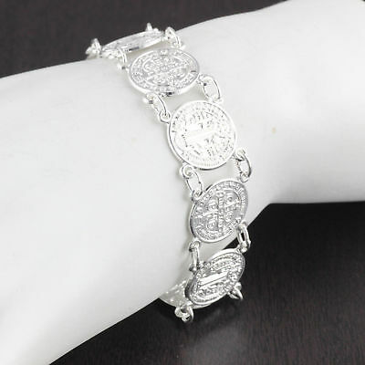 """Womens Solid 925 Sterling Silver San Benito Saint Benedict  7"""" Bracelet 14mm"""
