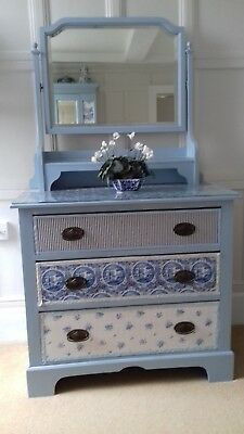 "Vintage Shabby Chic Painted Chest of Drawers 34.5"" W x 17.25"" D X 62"" T"