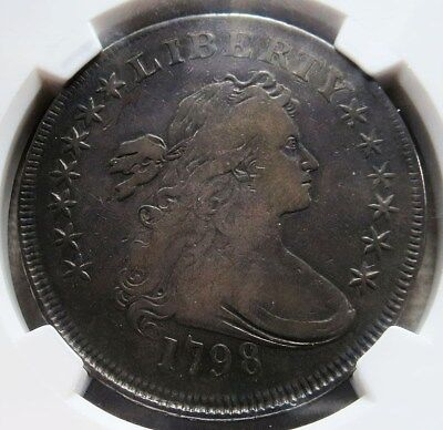 1798 Silver Draped Bust Flowing Hair Dollar 13 Stars Ngc Very Fine 20
