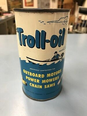 Rare Vintage Troll-Oil Outboard Motor Oil 1 Pint Can! Nice!!!!