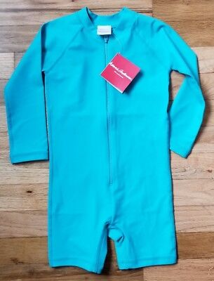 NWT Hanna Andersson LONG SLEEVE 1 PC Swimmy Rash Guard TURQUOISE SEA BLUE 90 3T