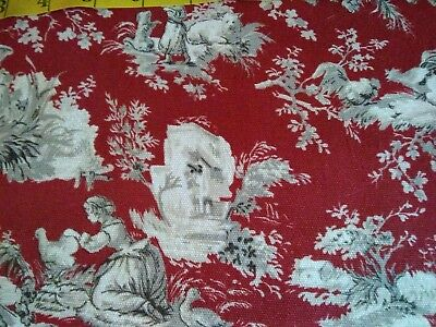 Waverly, White And Red Victorian  100% Cotton; 1 3/8 Yd At $6.00 Yd. Total $8.33