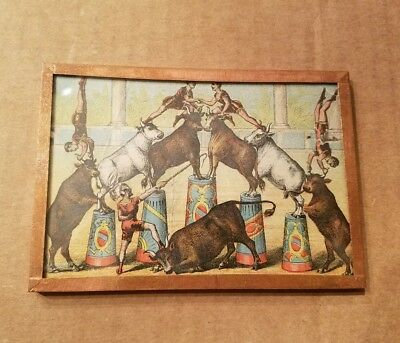 Victorian Trade Card Circus Image Acrobats with Cattle