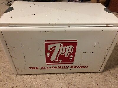 Vintage steel and aluminum Cronstrom's 7up cooler