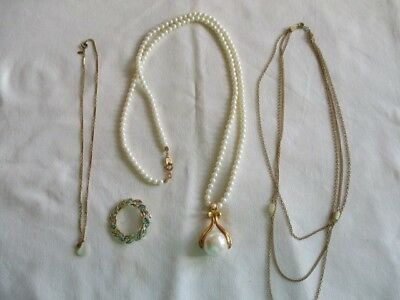 Lot of Vintage Jewelry-Necklaces and pin brooch-Marked Gerry's Avon Monet