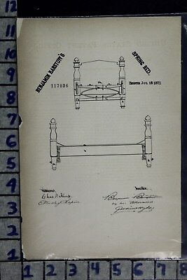 1871 Barstow Westfield Massachusetts Spring Bed Frame Patent Litho 117036