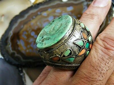 Antique Chinese Silver Carved Turquoise Bird RING Coral Flower Massive Unique 10