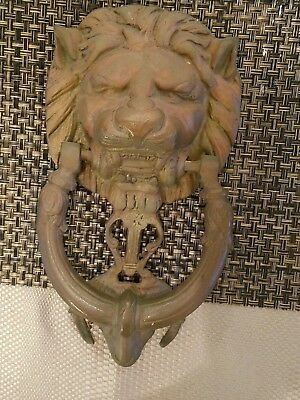 Antique Vintage Unique Solid Brass Lions Head Door Knocker With Ram/Goat Head