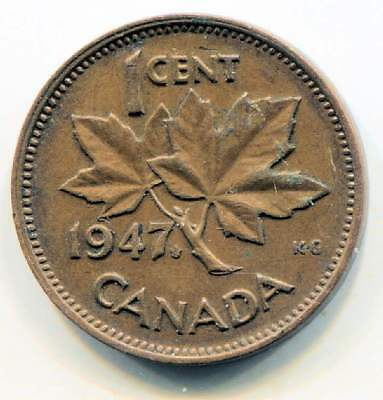1947 M Canadian 1 Cent Maple Leaf Penny Coin - Canada - King George VI