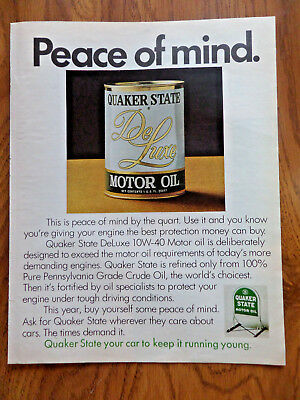 1972 Quaker State Motor Oil Ad    Peace of Mind