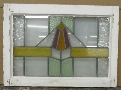 "MID SIZED OLD ENGLISH LEADED STAINED GLASS WINDOW Awesome Geometric 23.5"" x 17"""