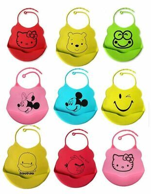 Silicone Bibs Feeding Weaning Baby Toddler Crumb Catcher Wipeable Waterproof