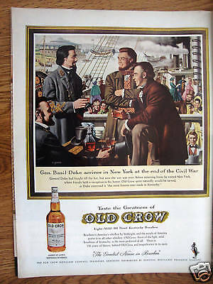 1961 Old Crow Whiskey Ad Gen Basil Duke Arrive New York