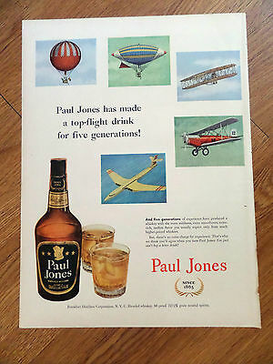 1952 Paul Jones Whiskey Ad 5 Generations Flying Machine
