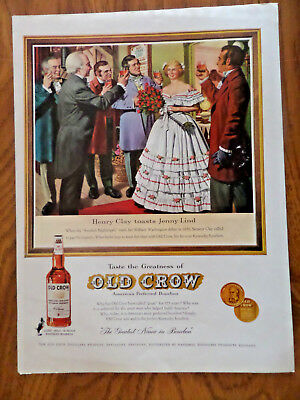 1960 Old Crow Whiskey Ad Henry Clay Toasts Jenny Lind Swedish Nightingale