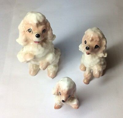 Vintage 1950s pink poodle figurines. Mom and 2 pups! CUTE Japan