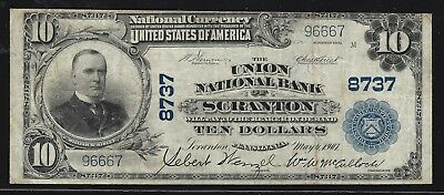 1902 $10 Union National Bank of Scranton, Pennsylvania!  Nice signatures