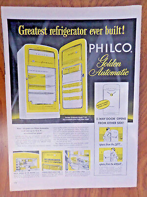 1954 Philco Refrigerator Ad  Golden Automatic Two Way Door