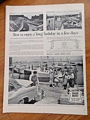 1956 Ethyl Ad  Driving Ad Seaside Towns Fishing Theme