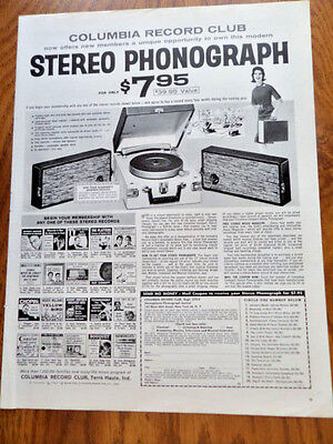 1962 Columbia Record Stereo Phonograph Ad