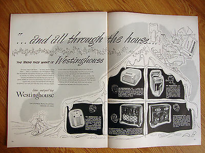 1947 Westinghouse Ad  Radio Phonographs 1947 Cavalier Cedar Hope Chests Ad