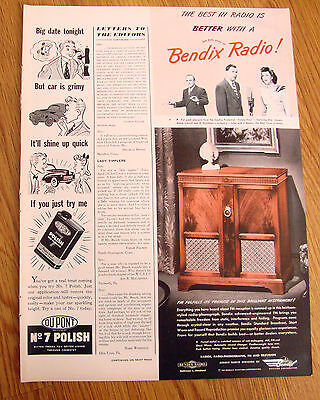 1947 Bendix Radio Phonograph Ad Sunday's Family Hour Stevens Carroll Goodman