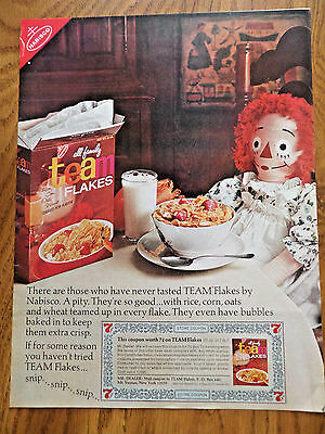 1966 Nabisco Team Flakes Cereal Ad   Rag Doll